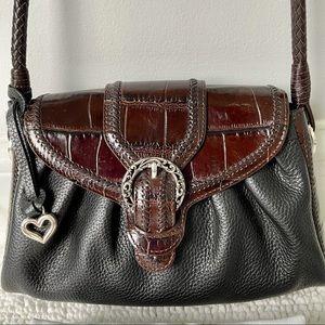 Brighton Dora Bag Black Leather with Croc Print